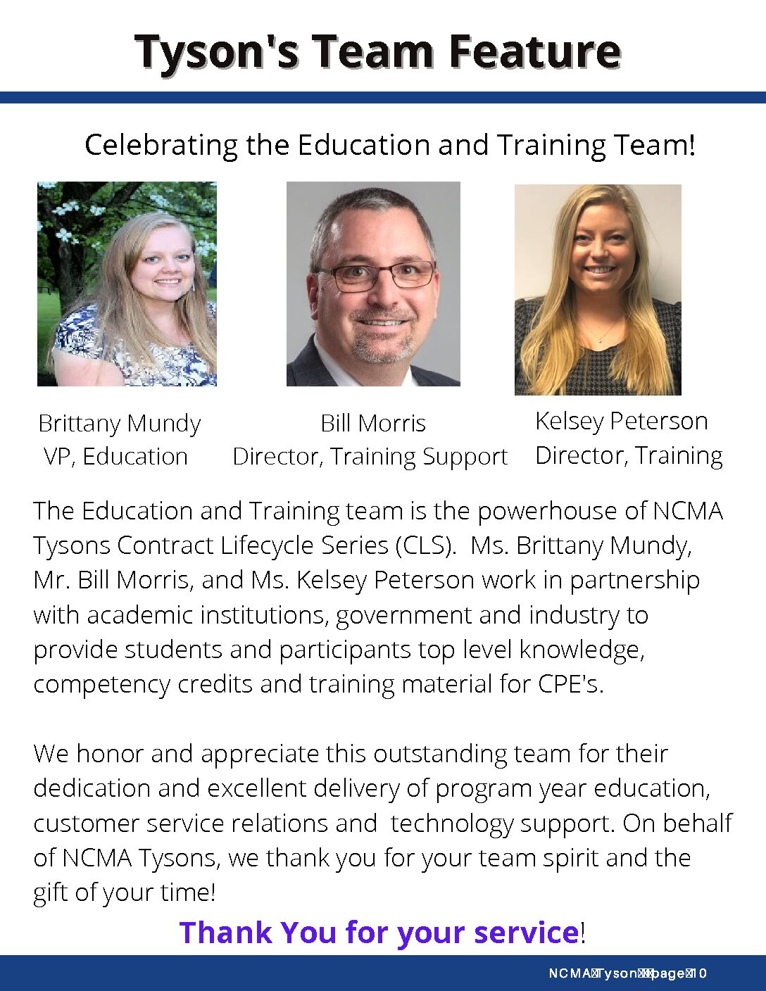 Tysons Team Feature- Education and Training