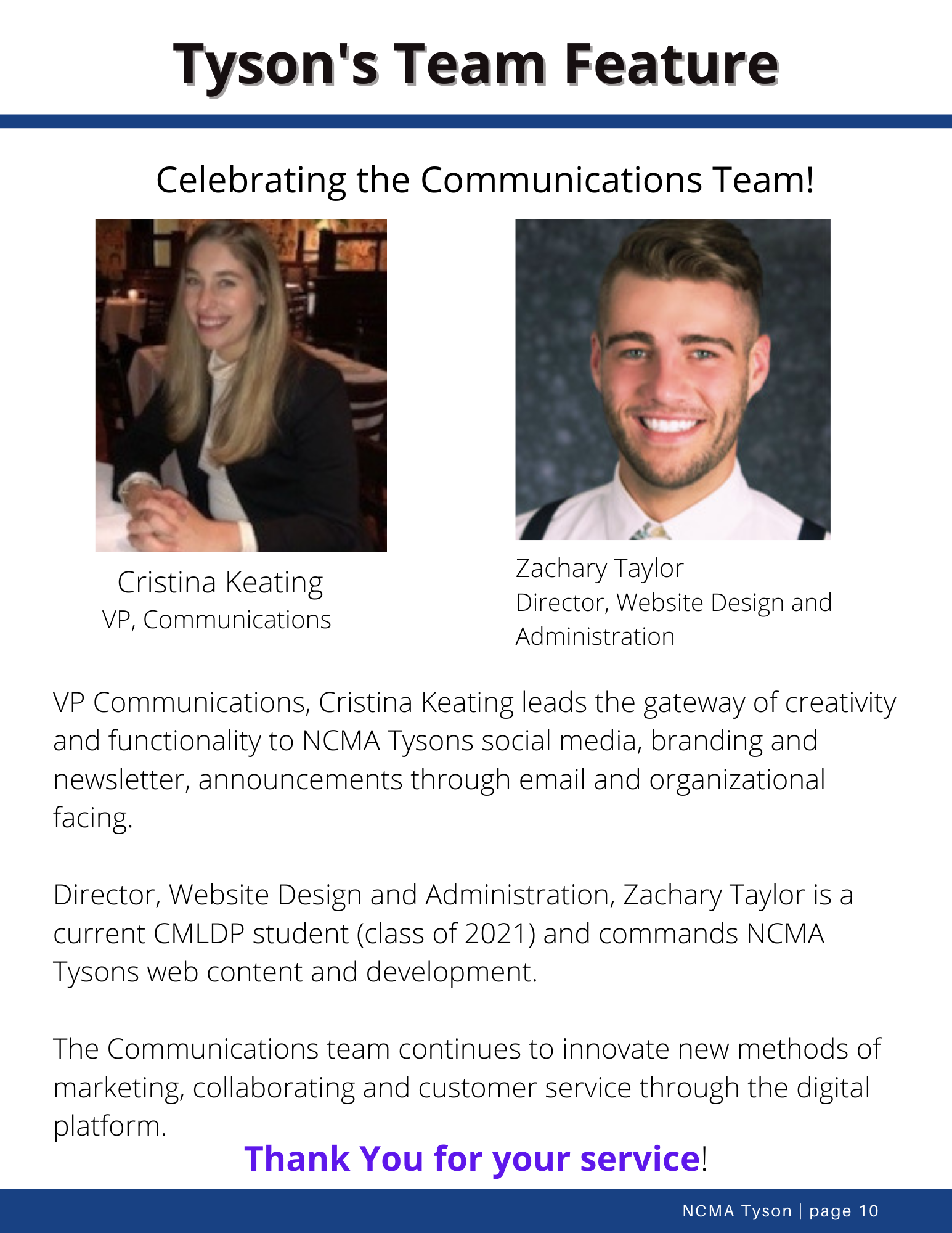 Tysons Team Feature- Communications