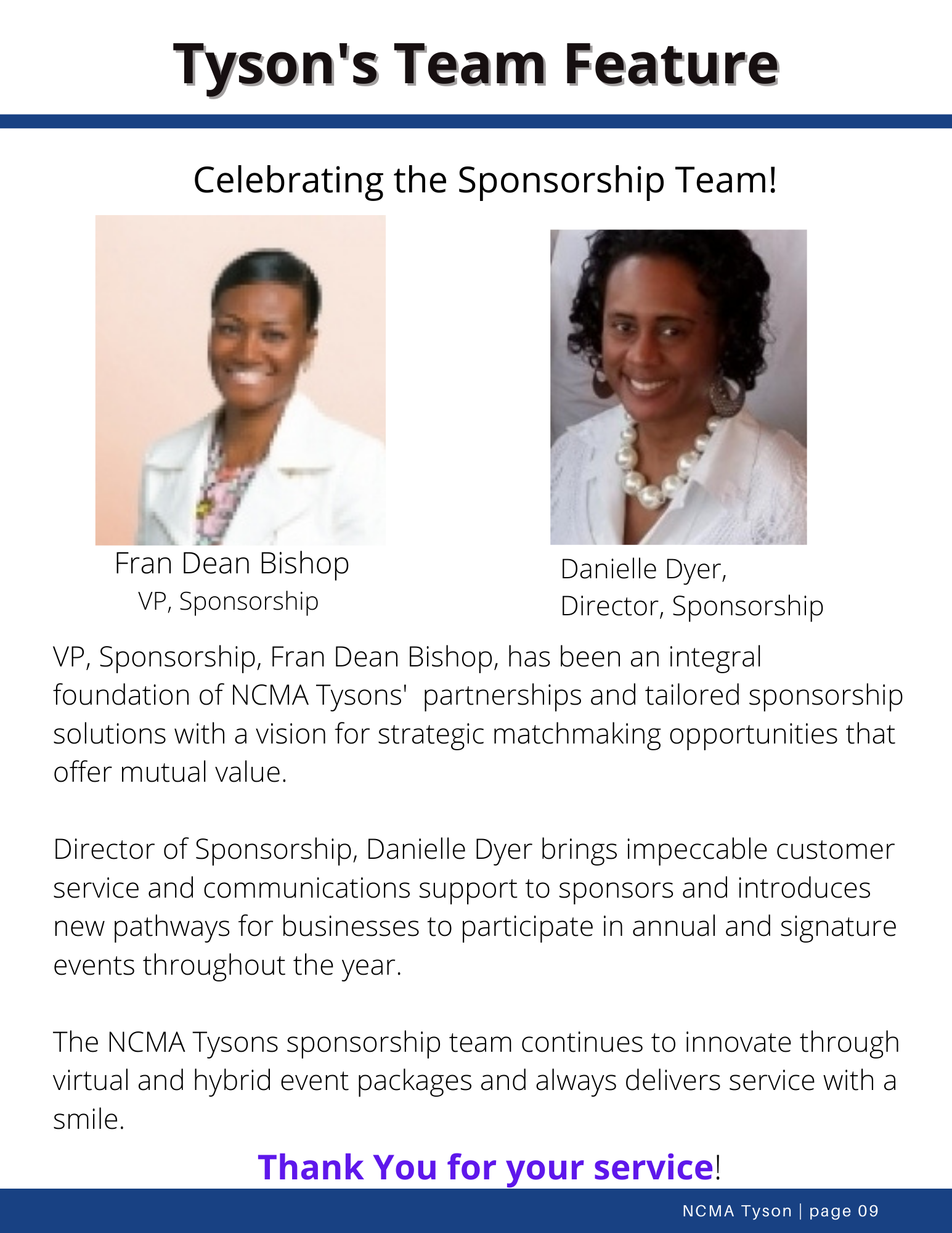 Tysons Team Feature- Sponsorship